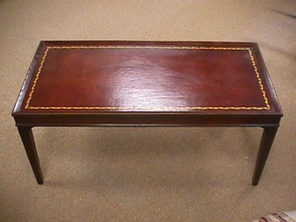 83 1950 39 S Vintage Leather Top Coffee Table Lot 83