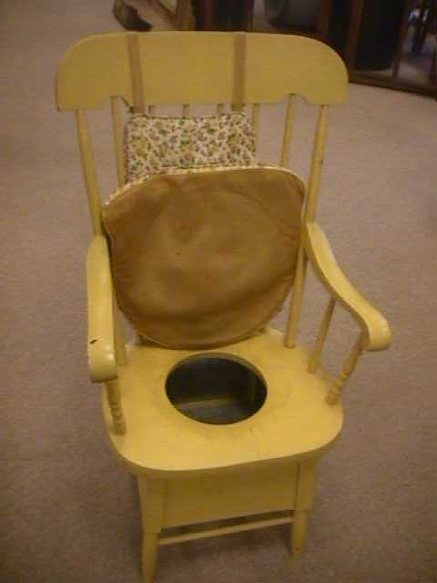 523 antique adult potty chair painted lot 523. Black Bedroom Furniture Sets. Home Design Ideas