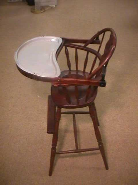 Antique High Chairs Wooden - Vintage Wooden High Chair With Metal Tray -  Chair Design Ideas - Antique Wooden High Chair With Tray Antique Furniture