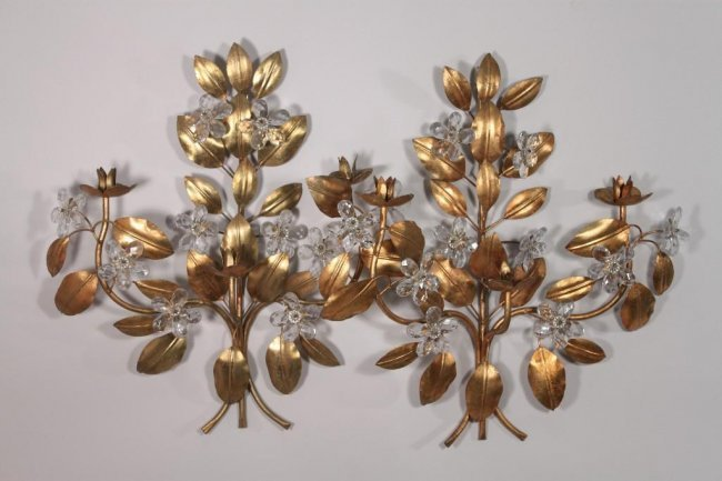 Floral Metal Wall Sconces : Metal Floral Wall Sconce (pair) : Lot 213