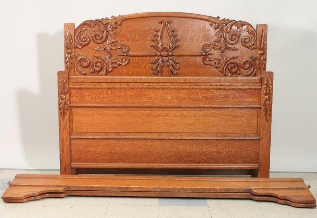 antique carved wood full size bed frame lot 258. Black Bedroom Furniture Sets. Home Design Ideas