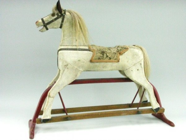 717 Childs Wooden Glider Horse Rocker Lot 717