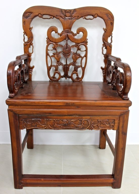 antique chinese hand carved teak wood chair lot 44