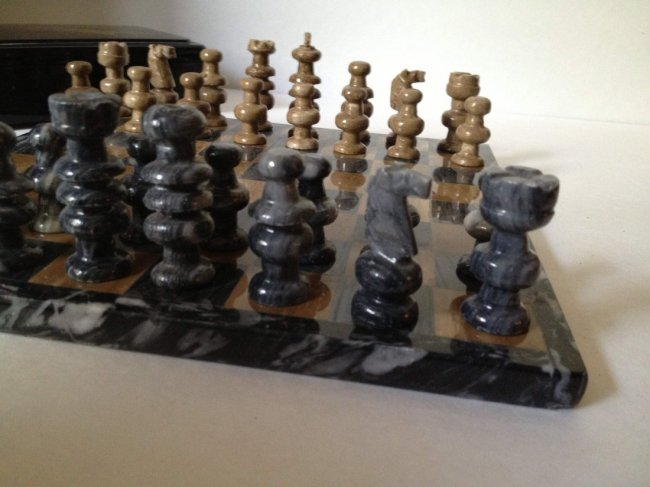 Beautiful vintage chinese granite chess set - Granite chess pieces ...