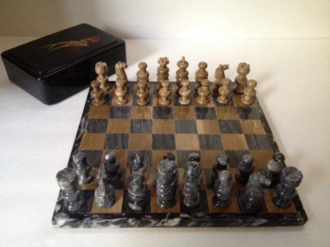 3 - Granite chess pieces ...