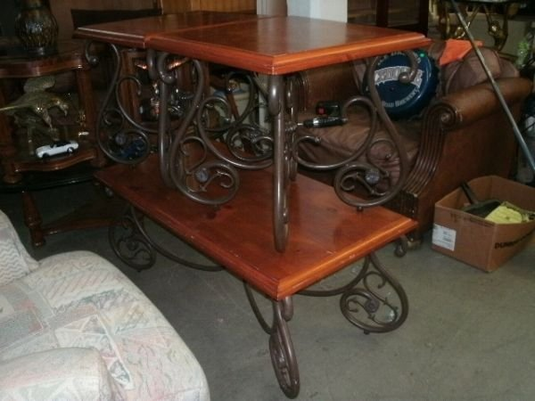 228 wrought iron and wood coffee table 2 end tables for Wrought iron coffee table with wood top