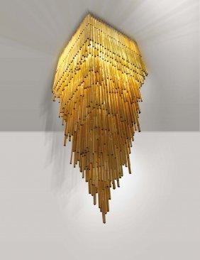 lampadario venini : Venini. Importante lampadario modello Triedro in vetro : Lot 364