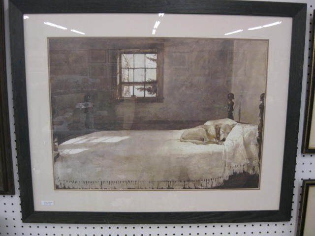752 andrew wyeth lithograph master bedroom dog on lot 752