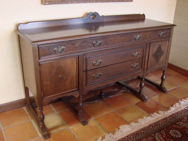antique 72 walnut wood buffet table lot 54. Black Bedroom Furniture Sets. Home Design Ideas
