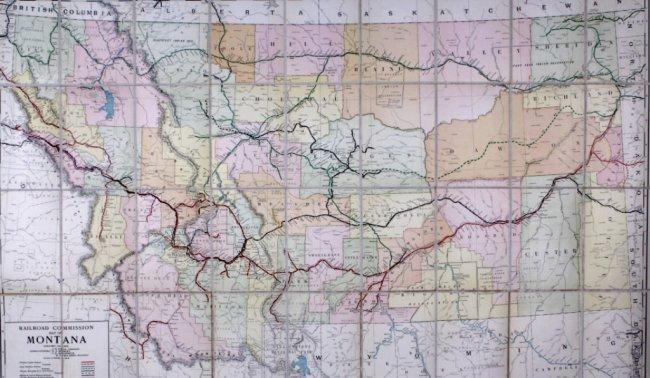 1915 Railroad Commission Map Of Montana  Lot 124