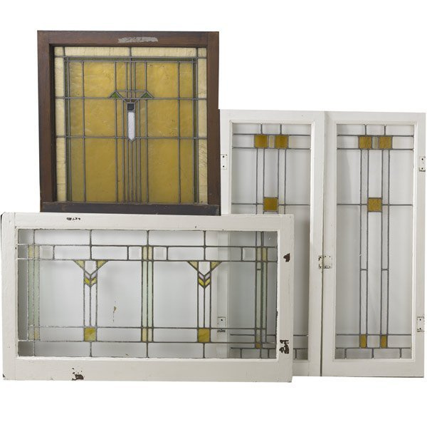 517 Prairie Style Four Stained Glass Windows Lot 517