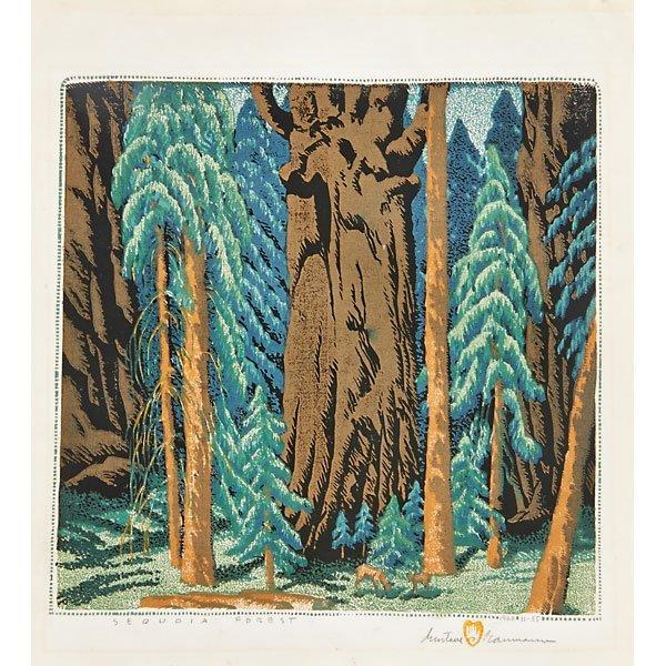 GUSTAVE BAUMANN Woodblock Print Sequoia Forest Lot 156