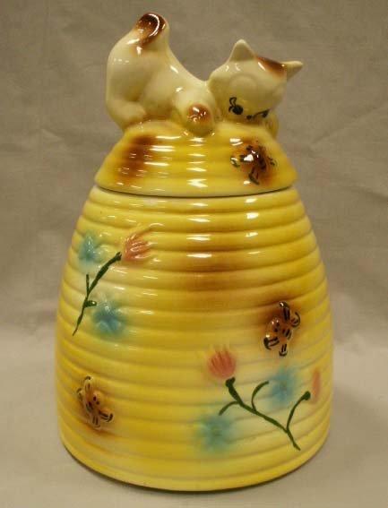 1273 vintage cat beehive pottery cookie jar lot 1273 - Beehive cookie jar ...