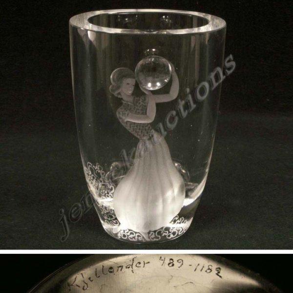 Crystal SIMON PIERCE Art Glass Signed Vase MINT from