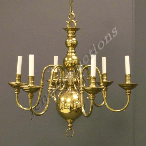211 Colonial Williamsburg Style Brass 6 Arm Chandelier