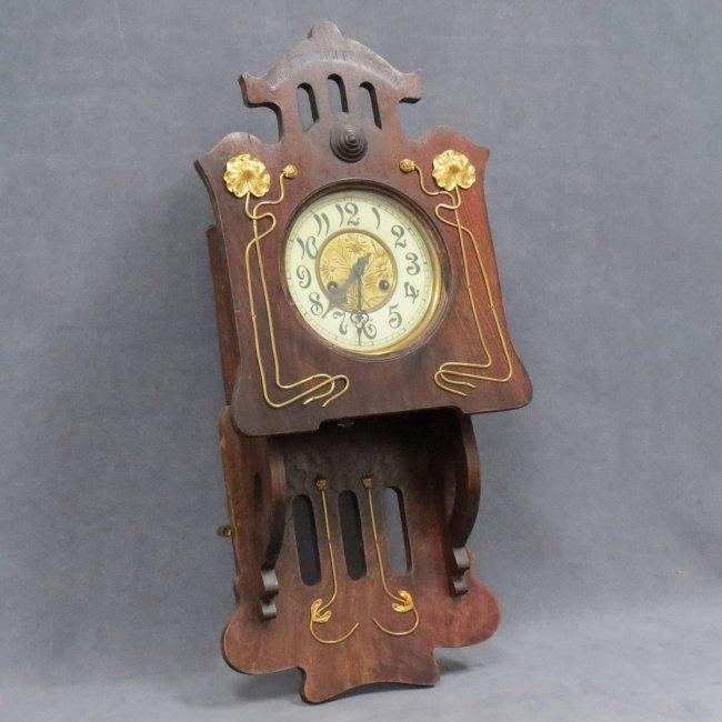Wall Clock Art Nouveau : Art nouveau brass mounted wall clock lot