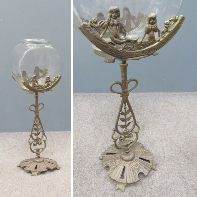 Art deco cast iron fish bowl on stand lot 219 for Fish bowl stand