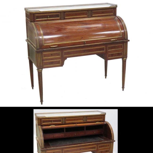 Louis xvi style carved mahogany bureau au cylinder lot 99 for Bureau louis xvi