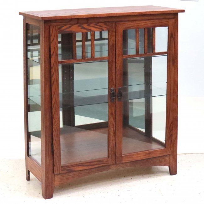 Arts and crafts style oak bookcase lot 232 for Craftsman style bookcase plans