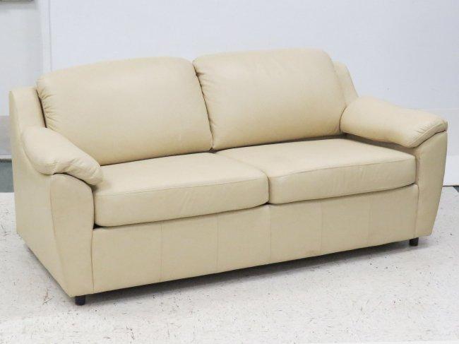 Castro Convertible Cream Leather Sleeper Sofa Lot 202