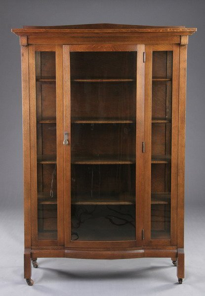 1557 american mission style oak china cabinet early 2 for Mission style corner hutch