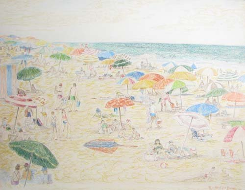 Beach Colored Pencil Drawing