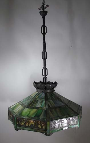 56 Handel Forest Antique Stained Glass Chandelier Lot 56