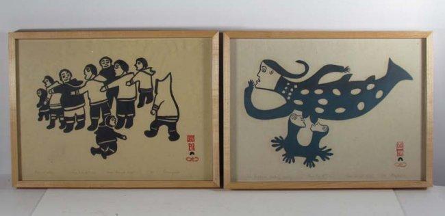 Two Inuit Stone Cut orig prints
