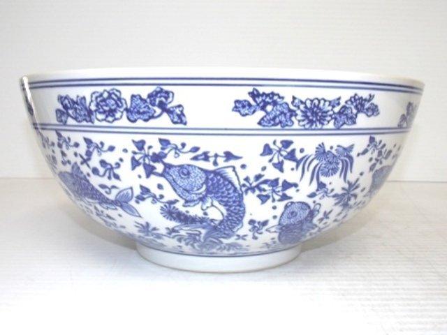 Large chinese blue white porcelain centerpiece bowl lot