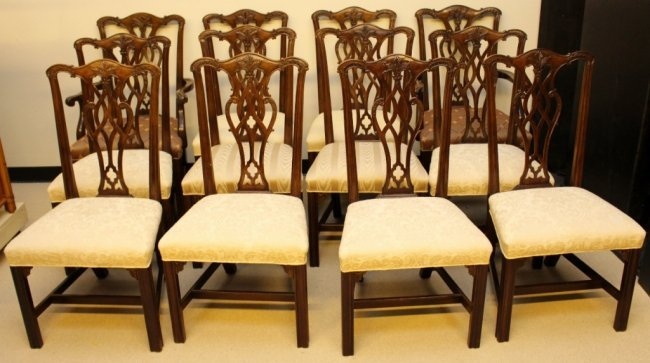 12 henredon chippendale dining chairs lot 92