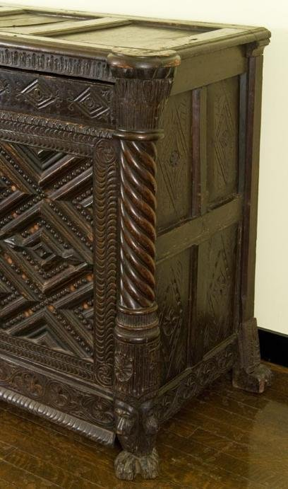 Antique anglo colonial chip carved oak cabinet lot