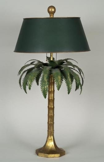 617 gilt and painted tole palm tree table lamp lot 617. Black Bedroom Furniture Sets. Home Design Ideas