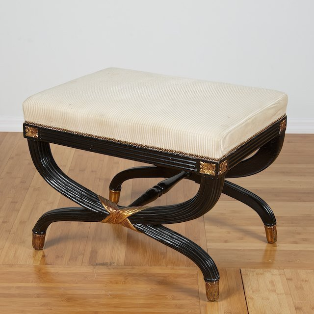 1235 Regency Style Black Lacquered Curule Stool Lot 1235