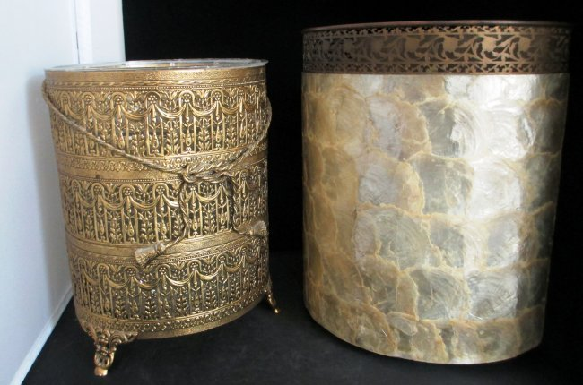 Decorative Waste Basket Round Hand Chased Gold Metal Lot 162