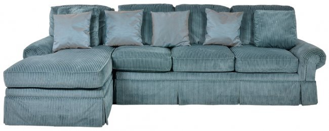 A sea blue corduroy sectional sofa with chaise lot 106 for Blue sofa with chaise