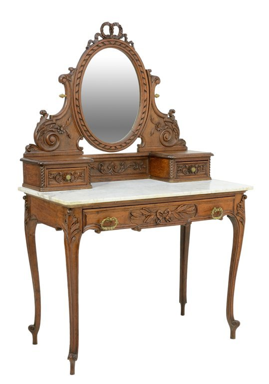 A FRENCH VICTORIAN EMPIRE STYLE DRESSING TABLE WITH Lot 31