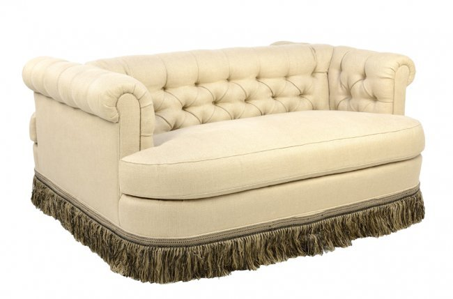 Double Sided Sofa : ONE OF A KIND CREME DOUBLE SIDED TUFTED SOCIAL SOFA : Lot 55