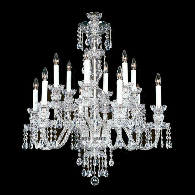 12 light Crystal Silvertone Swarovski Chandelier Lot 420
