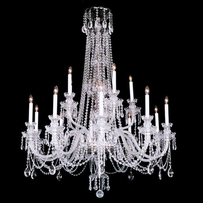 15 light Crystal Silvertone Swarovski Chandelier Lot 734