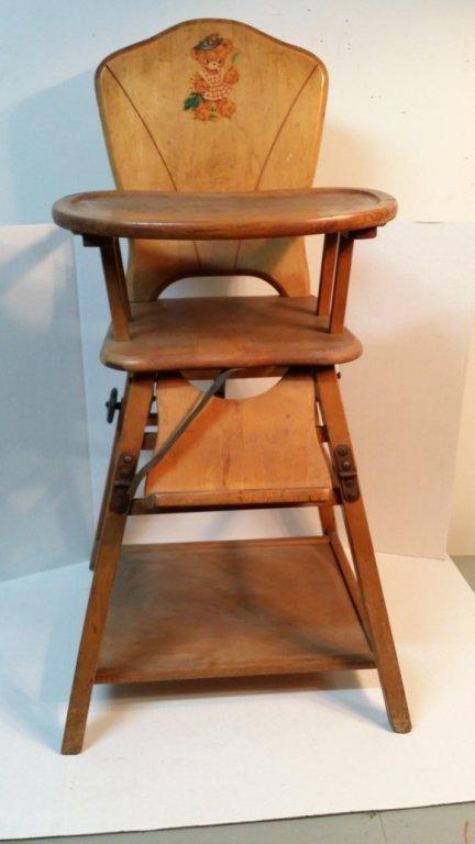 Vintage Convertible Folding High Chair Lot 97