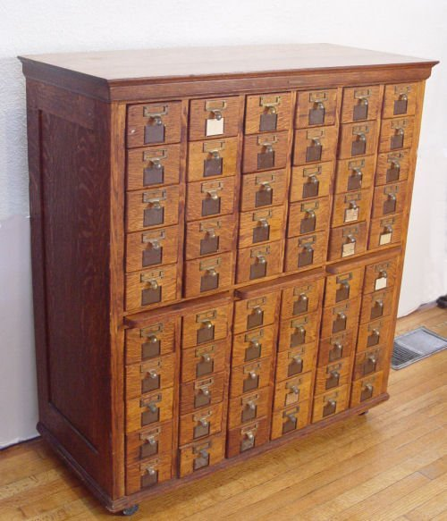 320 60 Drawer Tiger Oak File Cabinet Library Card Lot 320