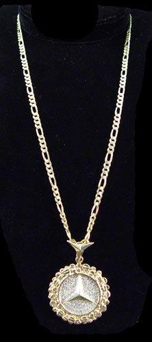 163 diamond 14k mercedes pendant figaro chain 25 8 g for 14k gold mercedes benz pendant