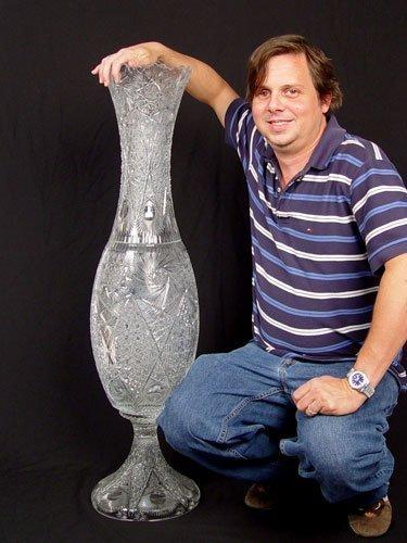 1329 Monumental Cut Glass Floor Vase 3 5 Feet Tall Lot 1329