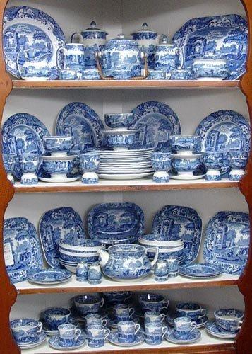 1120 109 Pc Copeland Spode Blue Italian China Lot 1120