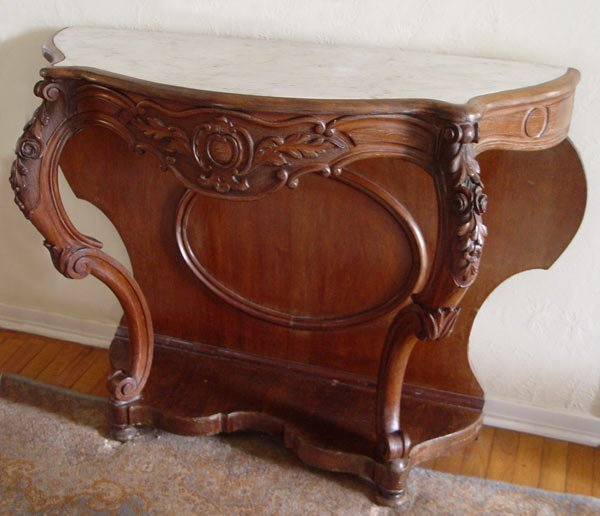 Foyer Table With Marble Top : Victorian carved walnut marble top foyer table lot