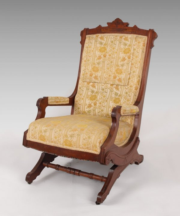 Antique oak rocking chair rocking chairs - 195 Schrenkeisen Victorian Platform Rocker Lot 195