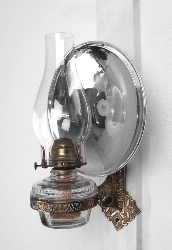 Wall Mounted Oil Lamp With Reflector : 243A: WALL MOUNT OIL LAMP WITH MERCURY GLASS REFLECTOR : Lot 243A