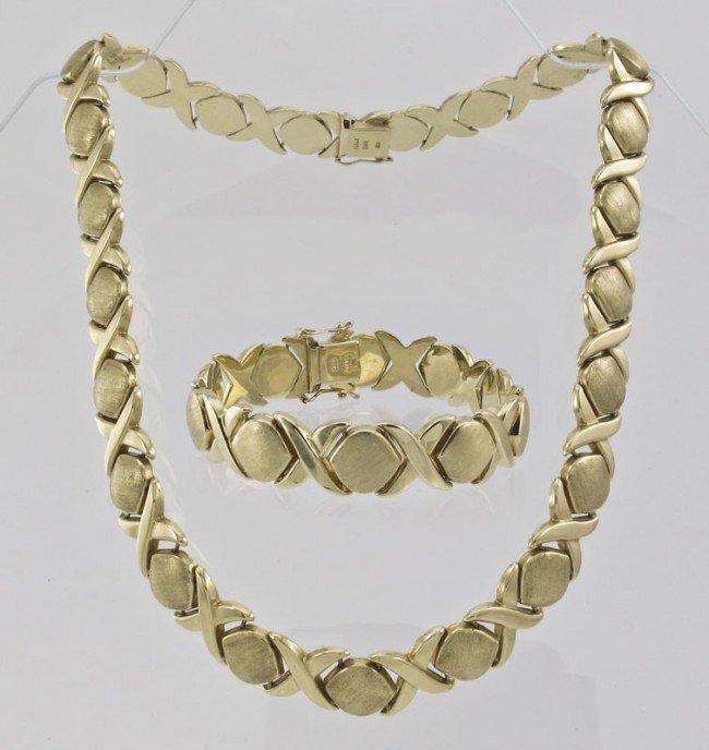 275 14k gold hugs kisses necklace bracelet 65 7 gr