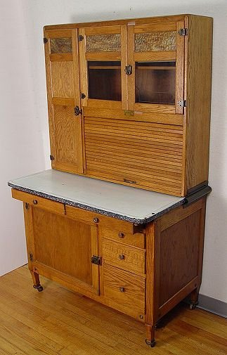 337 SELLERS VINTAGE OAK HOOSIER TYPE KITCHEN CABINET