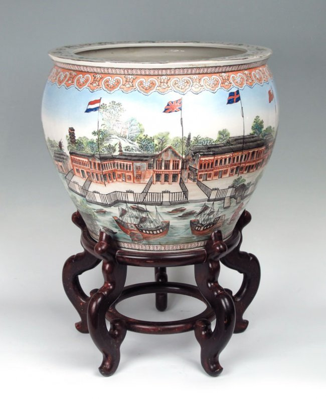 328 unusual large chinese ceramic koi bowl on stand lot 328 for Koi viewing bowl